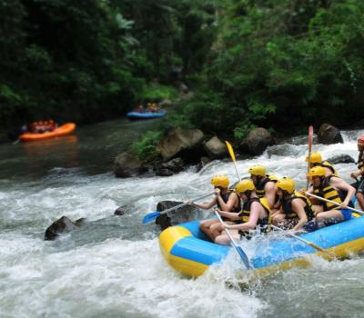 Bali White Water Rafting Adventure, Get through Waterfall